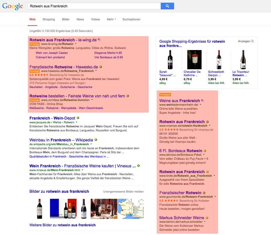 Google AdWords-Anzeigen (rot markiert)