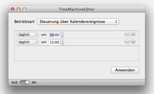 Time Machine steuern