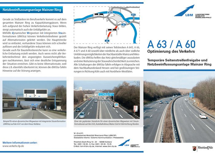 Presseflyer zur Baustellensituation A61 Mainz