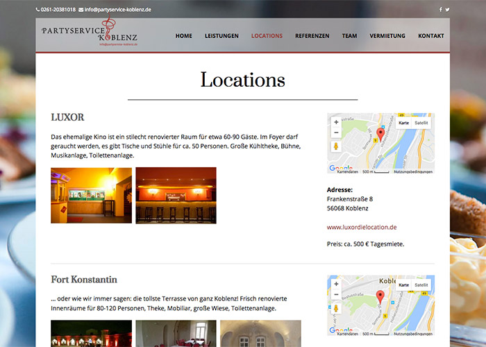 Locations Webdesign Partyservice