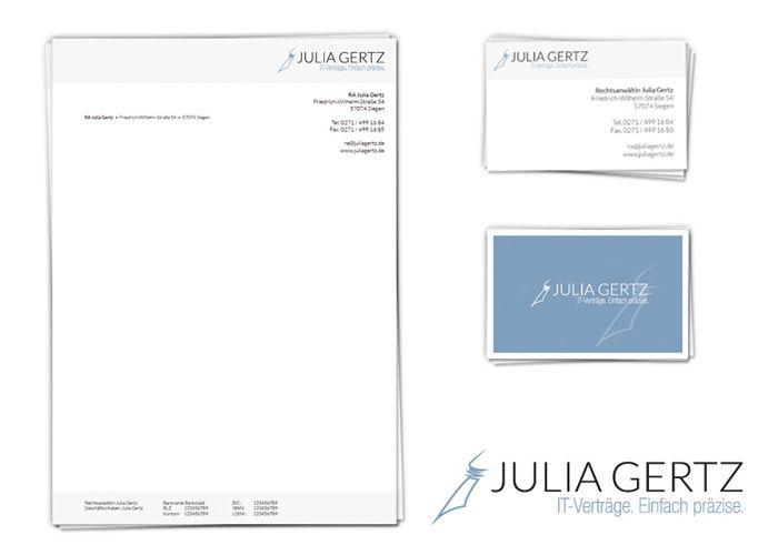 Corporate Identity fu00fcr Rechtsanwu00e4ltin Julia Gertz aus Siegen ...