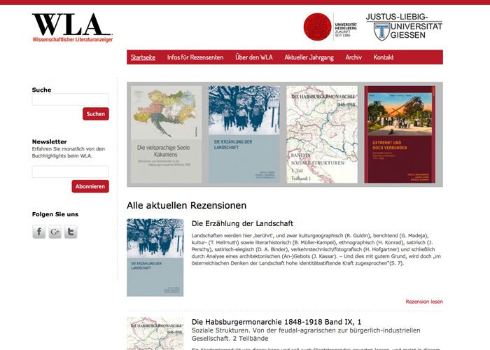 WLA Online Screenshot der Internetplattform